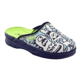 Befado kinderschoenen slippers om in te kleuren wit marine blauw 1