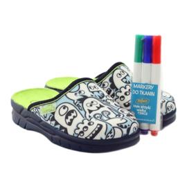 Befado kinderschoenen slippers om in te kleuren wit marine blauw 5